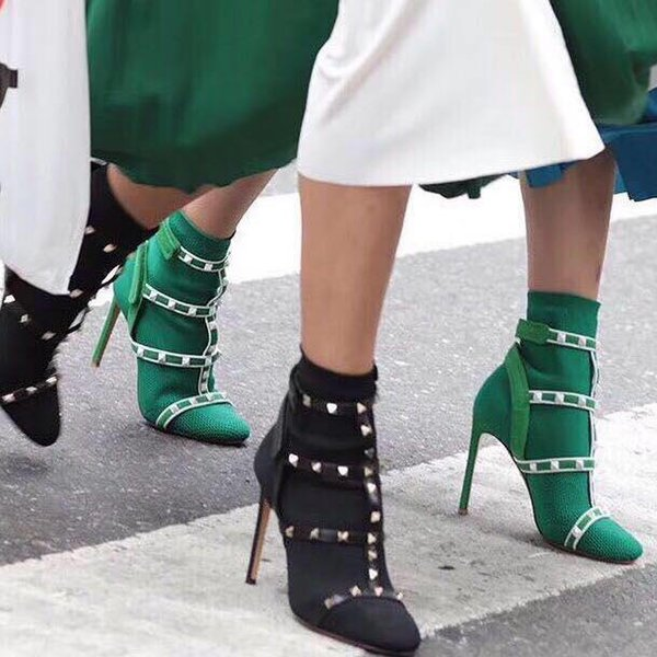 Brand High Heels Rivet Socks Boot Short Booties Studded Boots Belt Slip On  Stretch Knit Ankle Boots Fashion Runway Shoes 10cm Fur Boots Black Knee