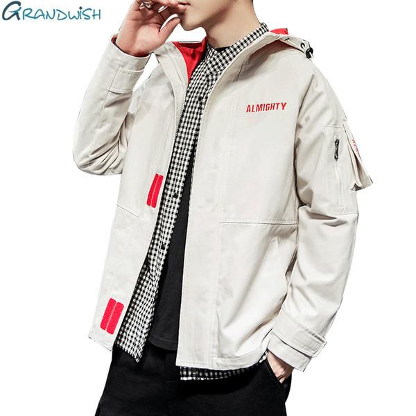 Grandwish Yüksek Kalite Bahar Erkekler Kapüşonlu Ceket Moda Giyim Streetwear Tulum Ceket Bombacı Ceketler Siyah Rahat 3XL, ZA174