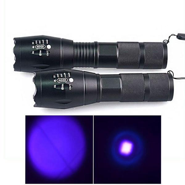 E17 UV LED El Feneri 365nM 395nM 5 W Güç Alüminyum Zoom Ultraviyole G700 Mor El Feneri Lambası Siyah Işık Torch A100