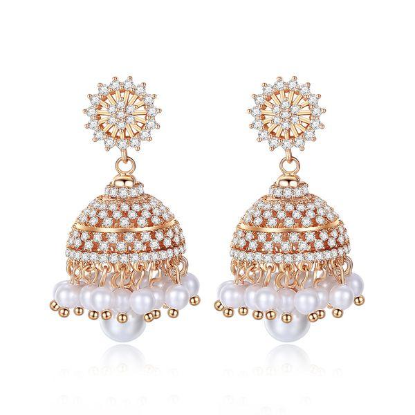 Dubai Bridal Earrings For Women Christmas Bell Indian Classic Luxury Pearls Earrings for Female Wedding Cubic Zircon Engagement