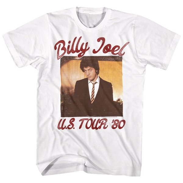 Billy Joel T SHIRT Mens New 1980 US TOUR 100% White Cotton in Sizes SM - 5XLFunny free shipping Unisex Casual tee gift