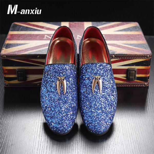 M-anxiu 2018 New Fashion Men Liesure Shine Doug Flat Slip-on Dress Shoes Casual Pointed Toe Solid Color Wedding Loafer Shoes
