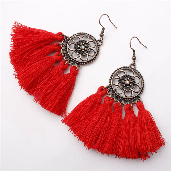 fringe vintage copper boho bohemian ethnic tassel drop dangle hanging handmade cotton rope earrings for women