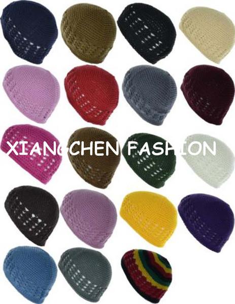 Handgemachte gehäkelte Mütze 10pcs / lot KUFI Hut-klassische Knit-Baumwollschädel-Kappen-Mischungs-Farben