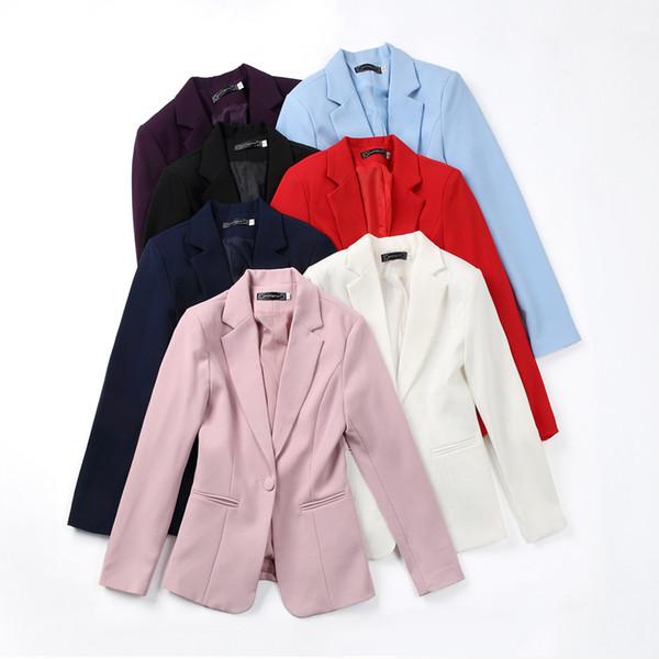 Trajes Abrigos Ropa de otoño para mujeres Nueva versión coreana Mangas largas Ocio Damas Traje negro Tamaño corto.mujeres Abrigos y chaquetas