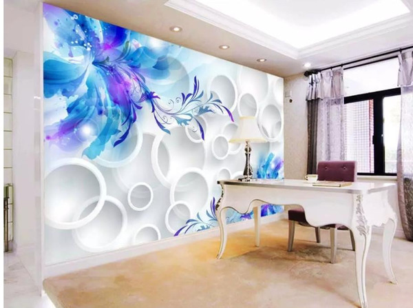 best selling custom any size 3d stereoscopic wallpaper Blue lily 3D TV background wall
