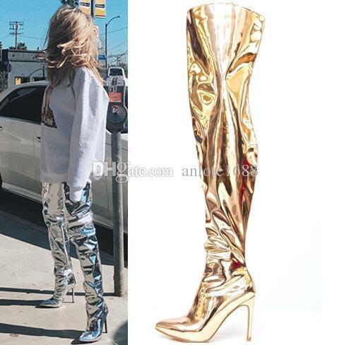 Kadınlar Için seksi Sivri Burun Uyluk Yüksek Çizmeler Rugan Diz Çizmeler Üzerinde Tasarımcı Tasarımcı Stiletto Topuklu Pompalar Altın Gümüş Siyah Uzun Patik