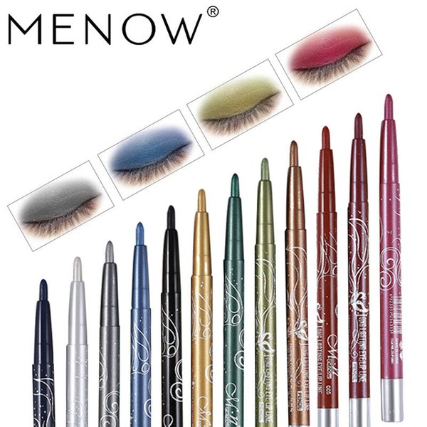 DHL 1set=12pcs 12 color MENOW eyeliner lip liner eyeliner pencils Waterproof eyeliner Auto rotate Multifunction eye liner