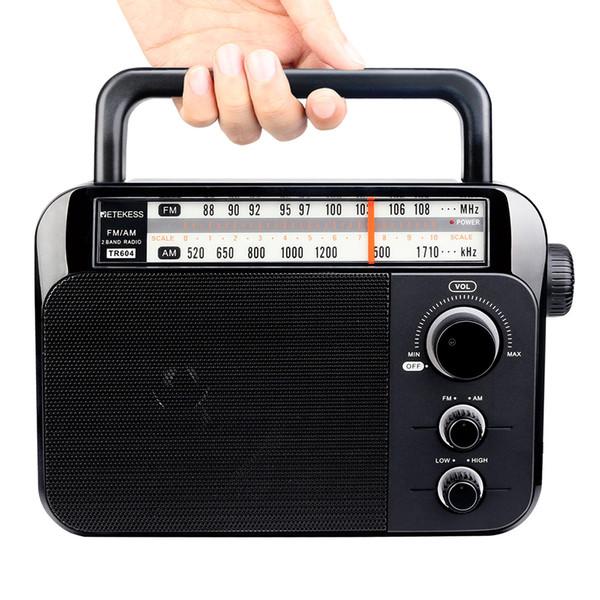 Retekess TR604 AM / FM-радио для пожилых людей Двухдиапазонный радиоприемник Портативный с захватной ручкой Батарея с питанием от сети переменного тока Черный Новый