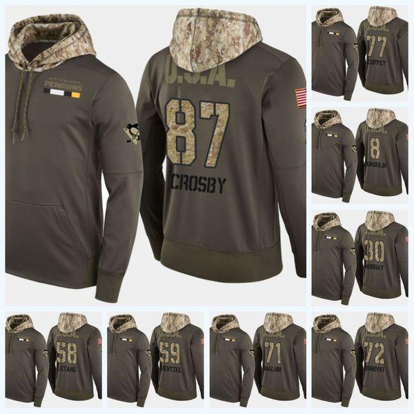 58 Kris Letang Pittsburgh Penguins Military Camo Hoodie USA Flag Sidney Crosby Evgeni Malkin Patric Hornqvist Phil Kessel Hockey Jersey