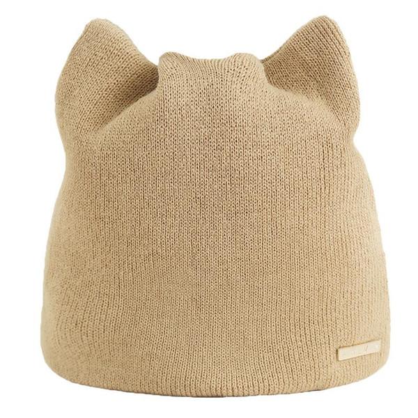Women Cat Beanies Ear Flaps Hat Ladies Skullies Touca Cap Korean Version Of The Solid Color Simple Warm Earmuffs Hat