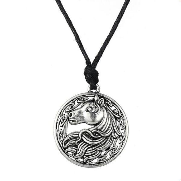 Antique Prata Irlandês Nó Cabeça de Cavalo Pingente de Colar de Amuleto Eslavo Do Vintage Jóias Ajustável Corda