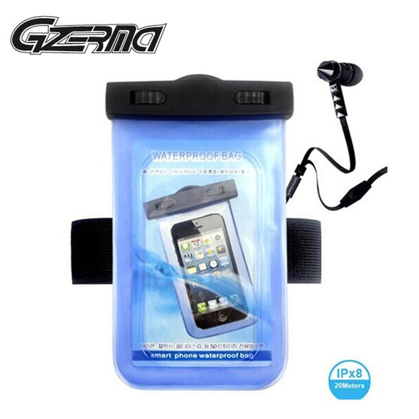 Universal Waterproof phone pouch With Watertight Earphone Drawstring Bags Against Water Jack for Up To 5 Inch Swimming Case