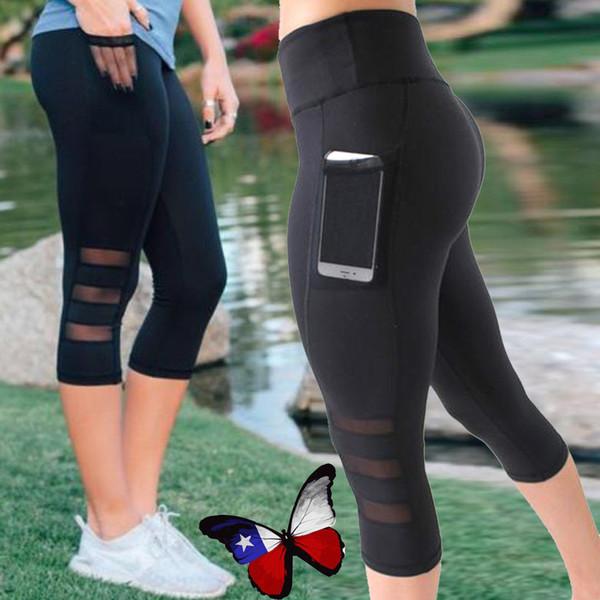 Black sexy Fitness sporting Capri Pants Women High waist Elastic Mesh Legging pants with pocket Cropped trousers leggings LJJA2333