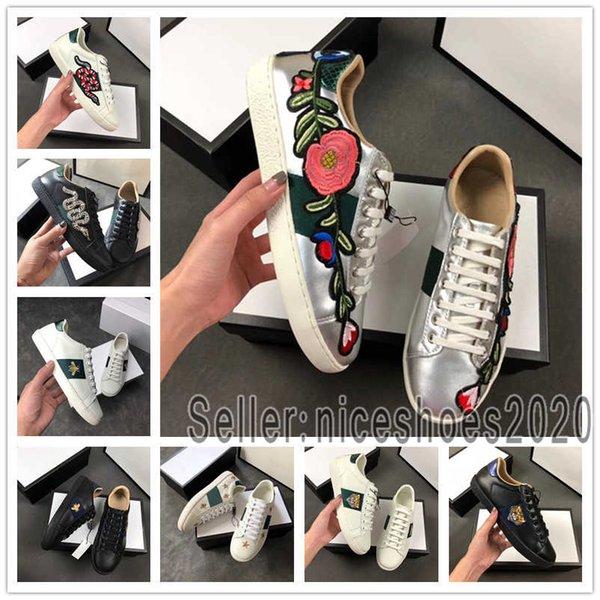Designer shoes Gucci men women Nuove scarpe di design di alta qualità uomo tigre ape blu perla strisce rosse distressed scarpe di lusso vera tela moda asso sneaker per le donne