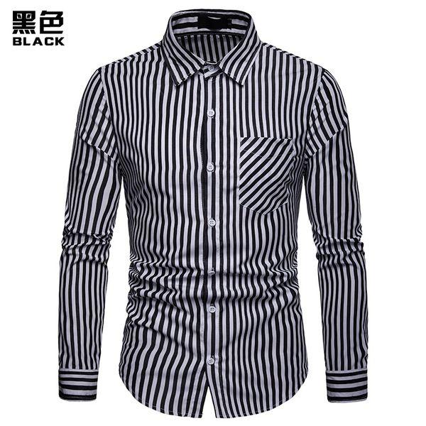 2019 Mens Striped Cotton Shirts Men`s Long Sleeved Turn-down Collar Fomal Business Shirts Black Navy Blue Plus Size 2XL