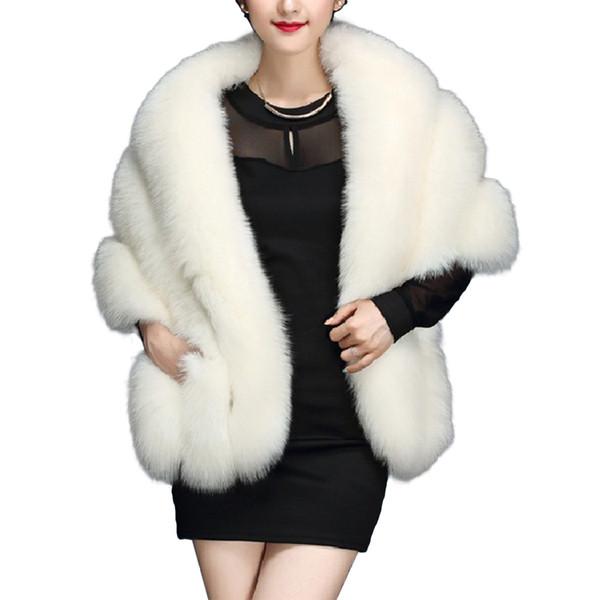 Faux Fox Fur Bolero Bridal Shawl Women 2018 Winter Warm Hairy Fur Cape Wedding Jackets Prom Wrap Female Pink Shawls Abrigo Mujer