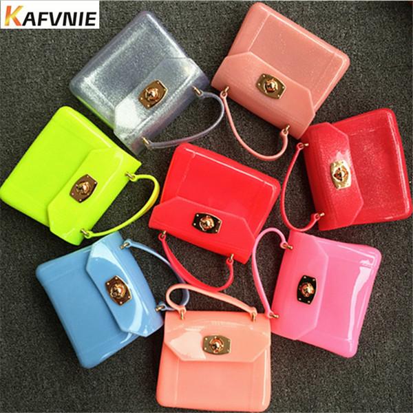 Fashion Princess Children's Jelly Bag Upscale Silica Gel Child Shiny Color Messenger Handbag Girl Favorite Party Bags 2018summer Y19061705