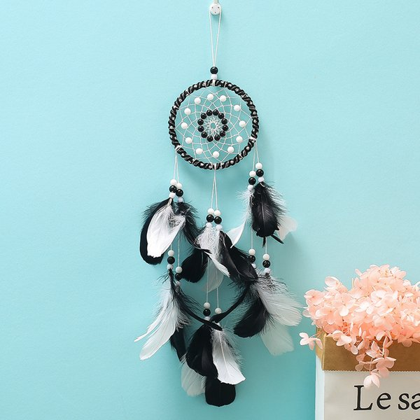 Feather Dream Catcher Wind Chime Bead Black White Bedroom Wall Decor Hanging Ornaments Pendant Indian Style Valentines Day Gifts 12 4xmC1