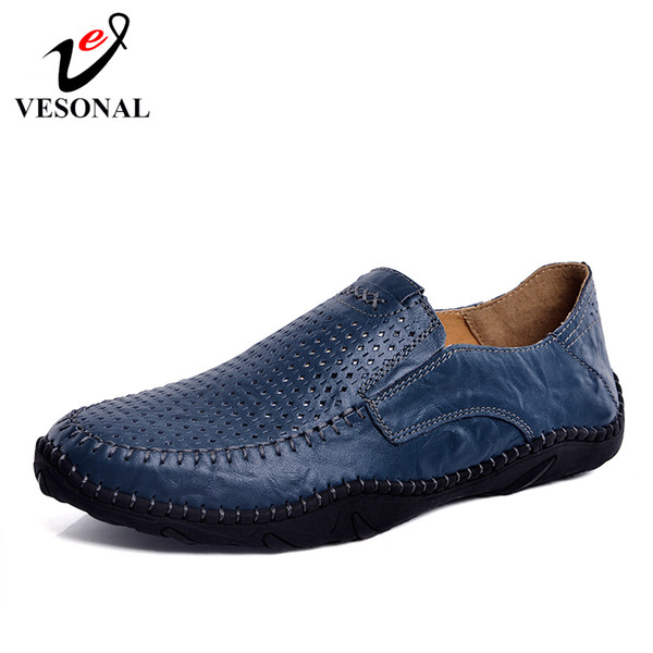 VESONAL Summer Slip-On Comfortable Hole Genuine Leather Soft Men Shoes Loafers Male Moccasins Flats Casual Boat Driver Driving