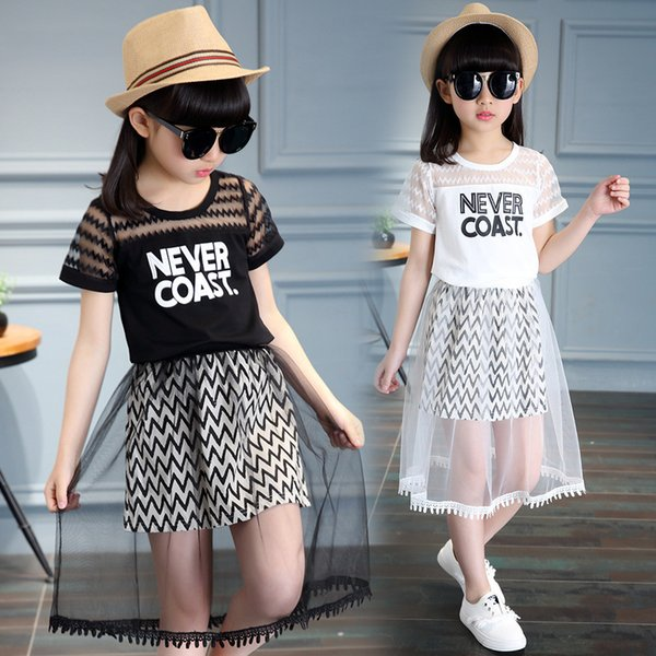 New Children Clothing Sets For Girls T-shirts & Long Skirts 2pcs Summer Girls Outfits 4 5 6 8 9 10 12 Years Old School Suits Y190518