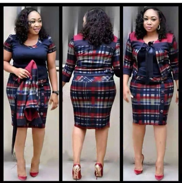 New Coming African Dresses For Women 2019 hot sale women plaid pattern dress fashion lady office dress