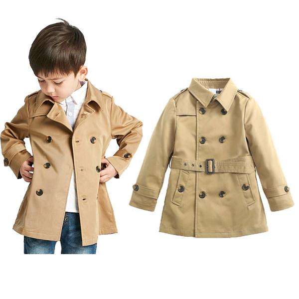 Crianças roupas de grife meninos meninas Outwear crianças Inglaterra Estilo Tench Coats Primavera OutonoDupla Breasted Blusão baby Jacket C6900