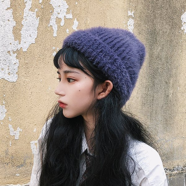Beauty no friends to ash purple hat Japanese soft waxy close skin warm heap heap hat female autumn winter knitting hat at