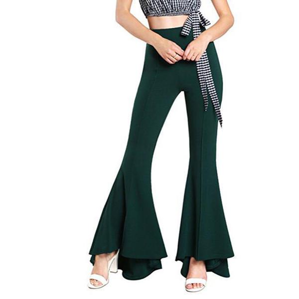 7 colori pantaloni svasati vendita donne adattano i pantaloni a gamba larga campana fondi 2018 di nuovo stile Pantaloni a vita alta trasporto libero V191021