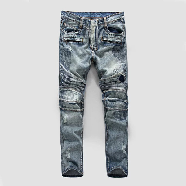 Großhandel USA Mode Herren Gerade Slim Fit Biker Jeans Hosen Distressed Skinny Ripped Destroyed Denim Jeans Washed Hiphop Hose Blau Von