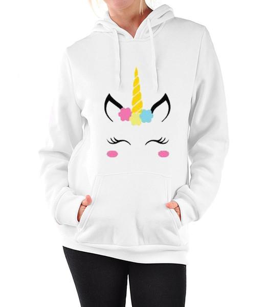 2019 Spirng Yeni Moda Hoodie Kadınlar Yeni Unicorn Desen Baskı Kapşonlu Gevşek Uzun Kollu Beyaz Kazak Boyutu S-XL