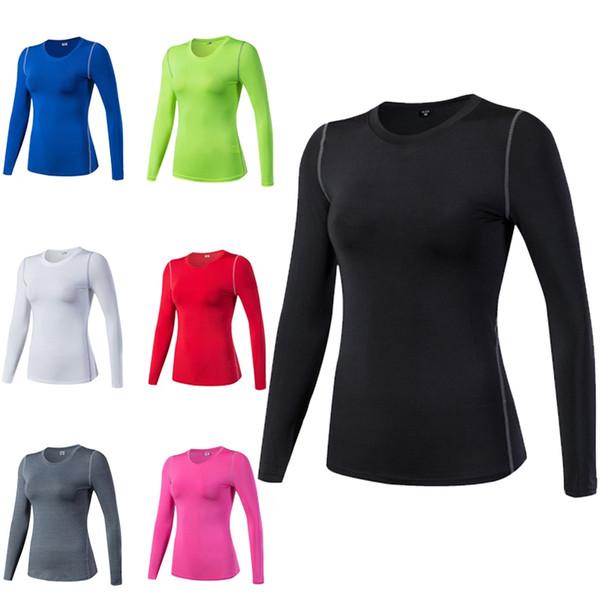 Collants de compression à séchage rapide pour femmes Wear Fitness Exercise Entraînement Sport Running Yoga Entraînement À Manches Longues Gym Yoga T-shirts # 74521