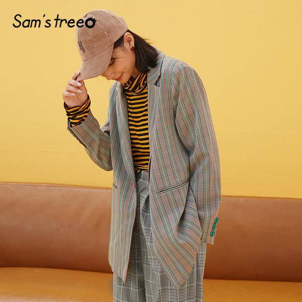 Samstree серая кнопка карманный плед офис дамы пиджак женский пиджаки 2019 осень свободного покроя элегантные женские пиджаки и куртки