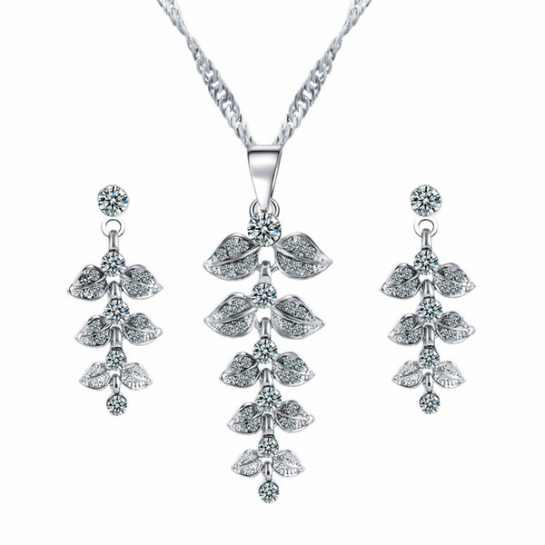 Bridesmaid Jewelry Sets for Wedding Silver Necklace & Earrings Cheap EU Indian African Fashion Party Jewelry Sets
