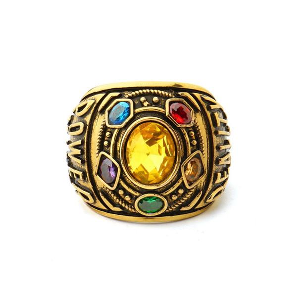 Marvel Avengers Infinity War Grandes anillos de diamantes de imitación Thanos Anillos punk de color dorado para mujeres Hombres Regalo de aniversario de recuerdo de los fans