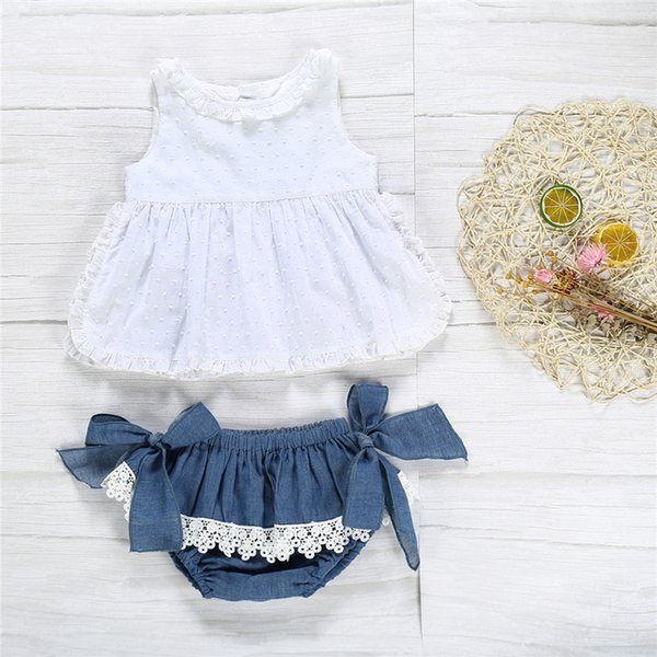 0-6T Toddler Kdi Baby Girl Clothes set Ruffles Lace Top T-shirt Shorts Pants Cute lovely Sweet Outfit
