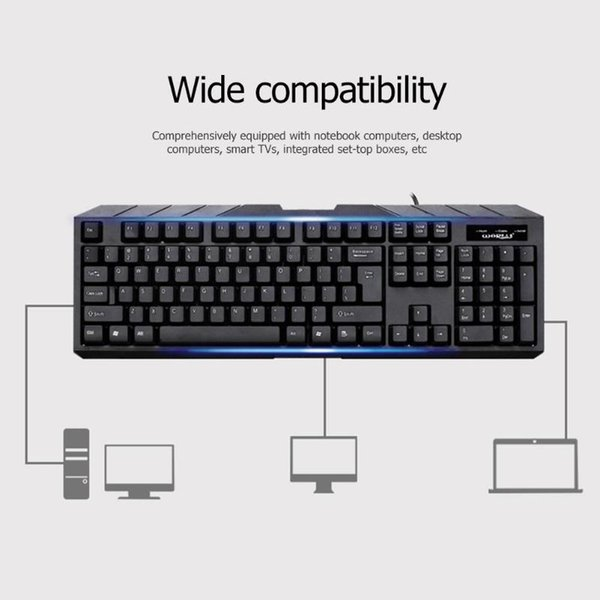 Gaming Keyboard Backlit LED 3 Color USB Waterproof Computer Crack