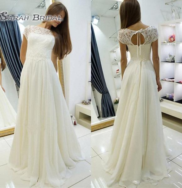 best selling Lace chiffon A-line Beach Boho Wedding Dresses With Cap Sleeves Bridal Gowns Corset Back Simple Summer Beach Informal Wedding Dresses