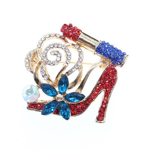 20pcs/lot Wholesale Charm Fashion Lipstick red High Heels Flower Brooch Pin Jewelry