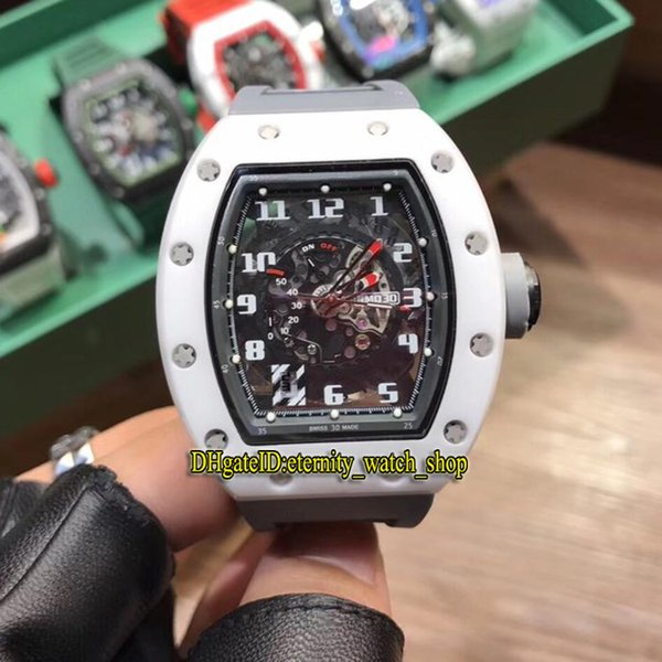 High version RM030 CERAMIC Skeleton Big Date Dial Japan Miyota Automatic 030 Mens Watch White Ceramics Case Gray Rubber Strap Sport Watches