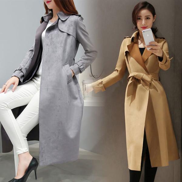 Otoño Primavera largo de imitación de cuero de gamuza Tamaño Fosa de las mujeres más el otoño damas de Corea del caqui Rojo Rosa de gran tamaño Escudo gamuza sintética
