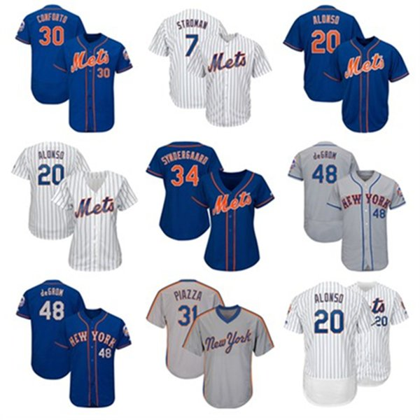 Mens Womens Youth New York Custom NY Mets Jerseys Marcus Stroman Pete Alonso Jacob deGrom Jeff McNeil Michael Conforto Baseball Jersey