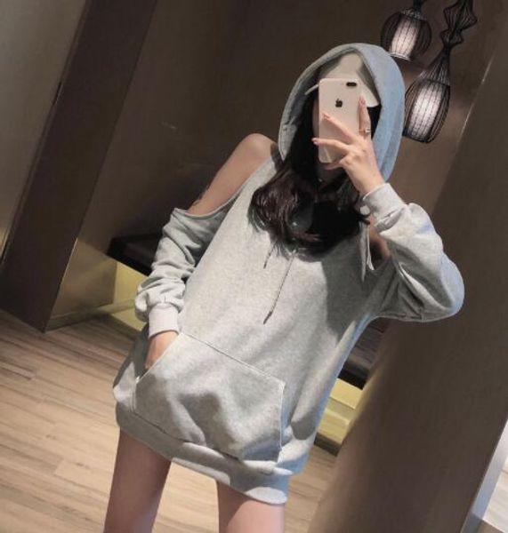 2019 Nuevo diseño mujer color gris con capucha estampado de la luna fuera del hombro manga larga suelta palazzo casual sudaderas con capucha sudadera pullover tops