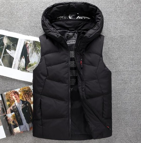 Men's Korean special personality fashion boutique handsome thickened loose autumn and winter new fashion down jacket vest / M-3XL