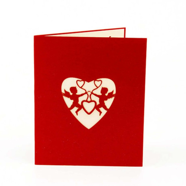 3D Pop Up Cartões Postais Cartões de Presente de Aniversário Cartão de Festival de Coração Vermelho Do Vintage Convite de Casamento Cartas de Amor Mensagens