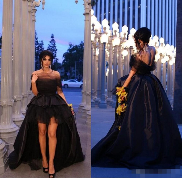 2020 High Low Black Prom Dresses Satin Tulle Sweep Train Tiered Skirt Sweetheart Off Shoulder Evening Gowns Formal Occasion Wear Plus Size