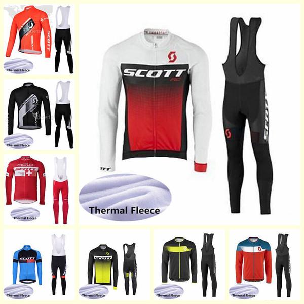 équipe SCOTT salopettes en jersey en polaire cyclage thermique d'hiver nouveaux ensembles de vêtements en polyester mens vélo sport d'extérieur U101011