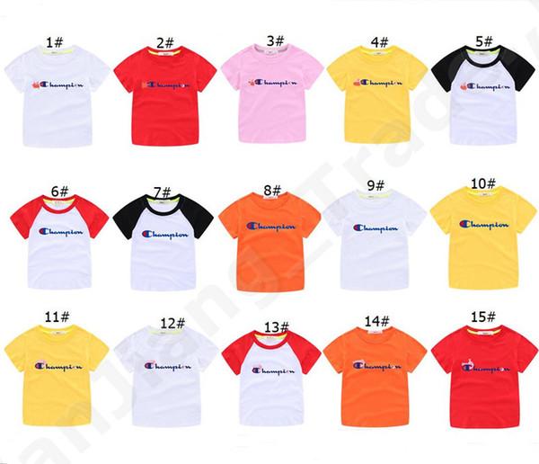Champion Lettre Enfants T-shirts Bébés Garçons Filles Vêtements D'Été À Manches Courtes Top T-shirts 100% Coton Enfant Sports de Plein Air T-shirts 90-160cm A5901