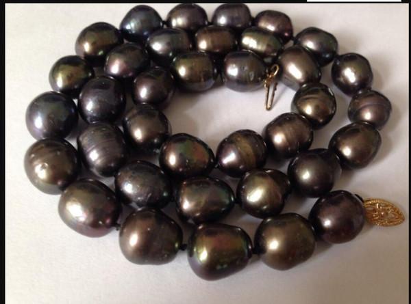 collier Livraison gratuite ++++ superbe 12-13mm tahitian noir rouge perle collier 17inch