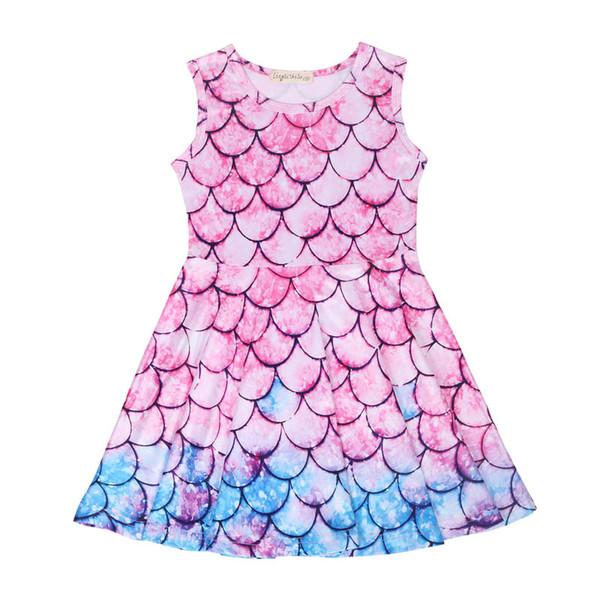 Acheter Nouvelle Sirène Filles Robes été Enfants Vêtements De Designer Filles Habillent Dessin Animé Enfants Mignons Robe De Plage Robes De Princesse